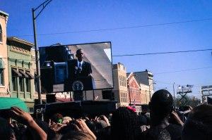 President Obama delivering his speech